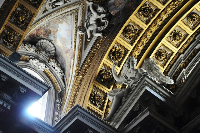 Church ceiling arches, religion.