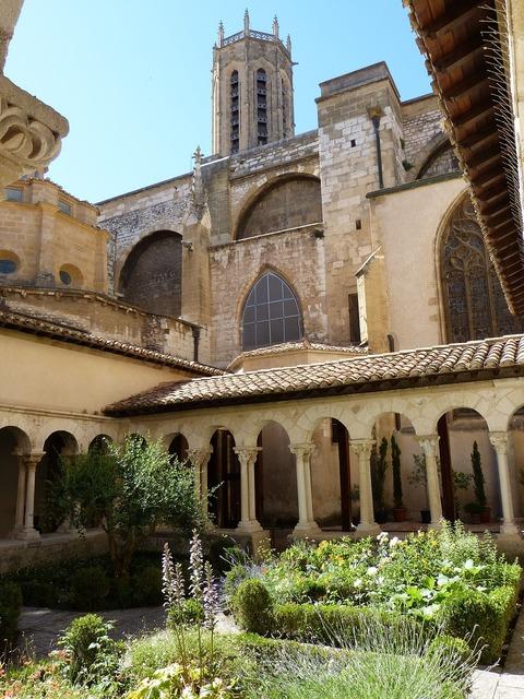 Church cloister garden, religion.