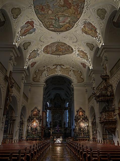 Church nave altar, religion.