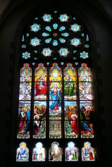 Church stained glass window stained glass, religion.
