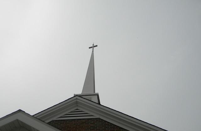 Church steeple cross, religion.