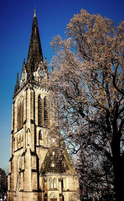Church steeple sky, religion.