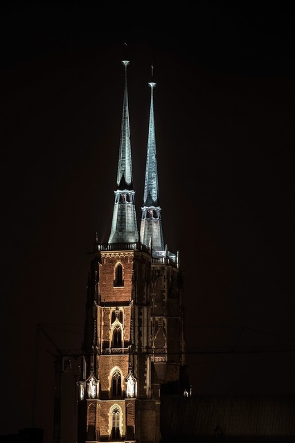 Church tower spire, religion.