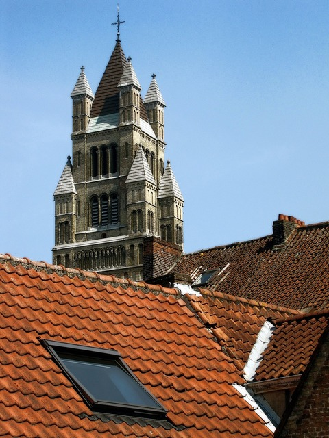 Church tower tiled roof roof.