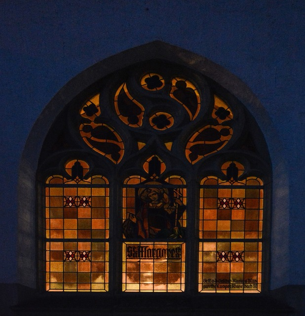 Church window colorful evening, religion.