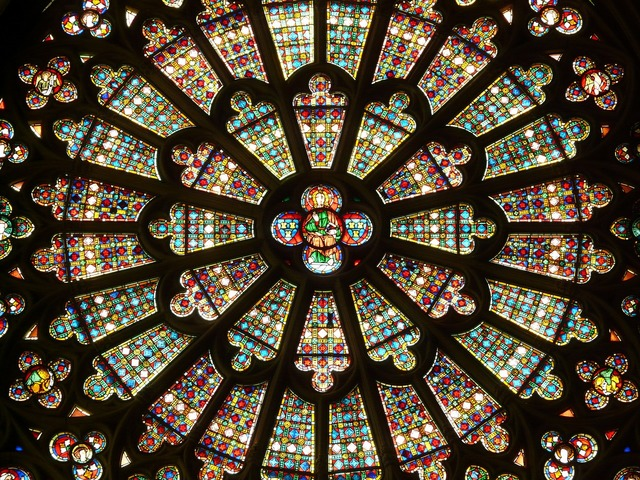 Church window rosette glass window, backgrounds textures.