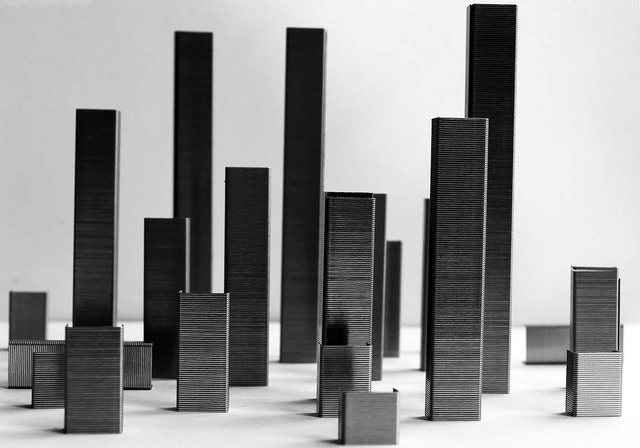 City abstract model, architecture buildings.