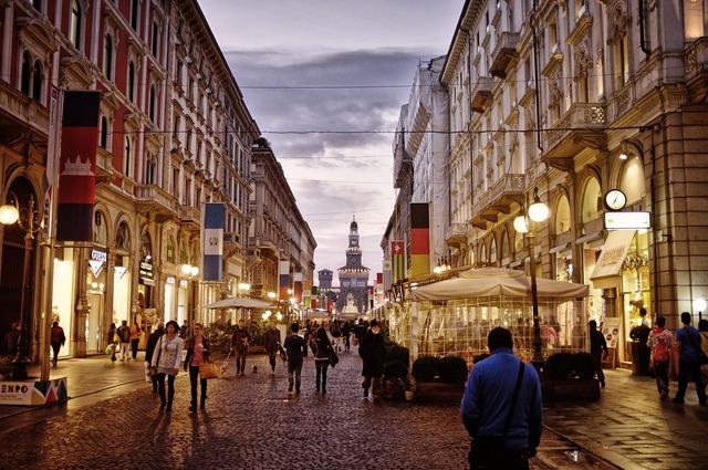 City centre street milan, transportation traffic.