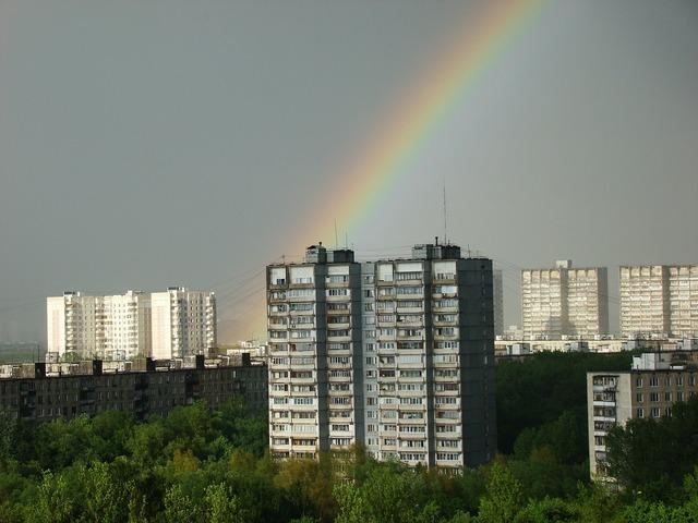 City rainbow high rise building, architecture buildings.