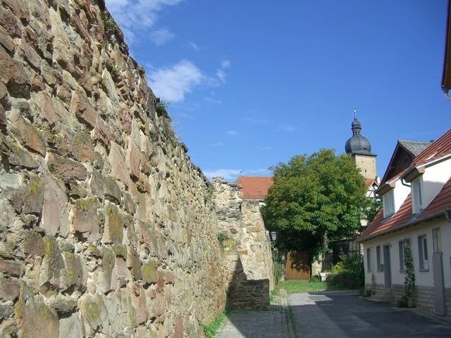 City wall masonry alley.