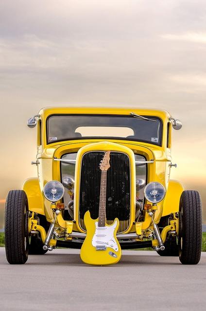 Classic car electric guitar muscle car, transportation traffic.