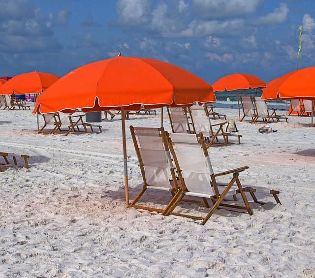 Clearwater beach usa umbrella and chairs.
