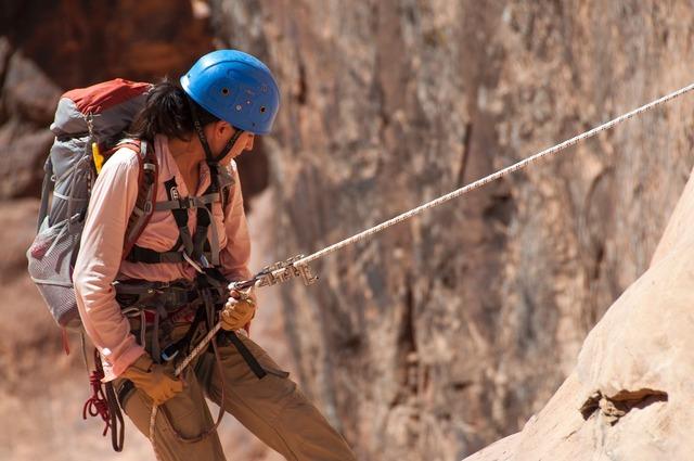 Climbing rappelling canyoneering, beauty fashion.