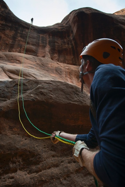 Climbing rappelling canyoneering, nature landscapes.