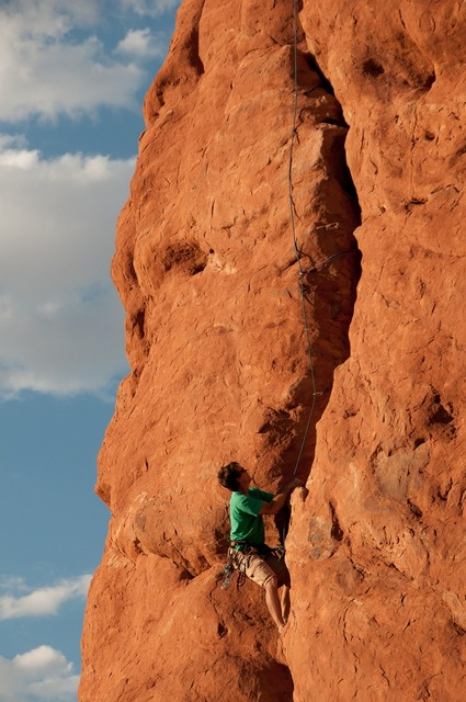 Climbing rappelling rope, nature landscapes.