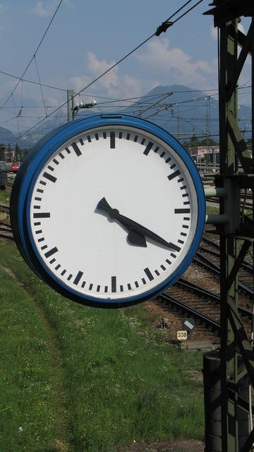 Clock time indicating railway station.