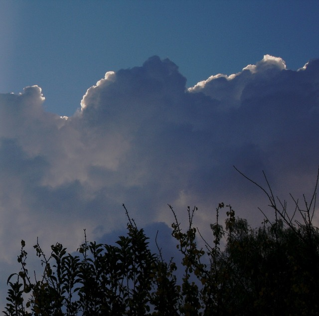 Clouds massed puffy.