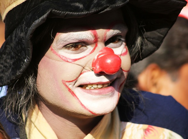Clown makeup circus, emotions.