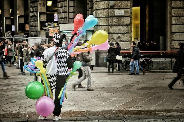 Clown street milan, transportation traffic.