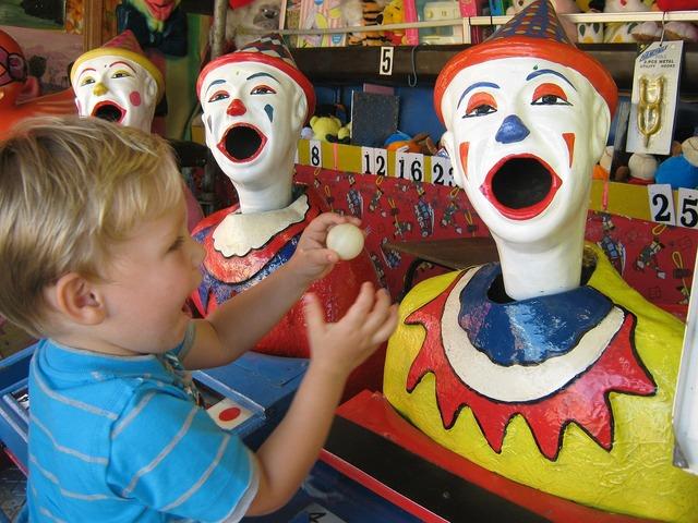 Clowns fun fair carnival, emotions.