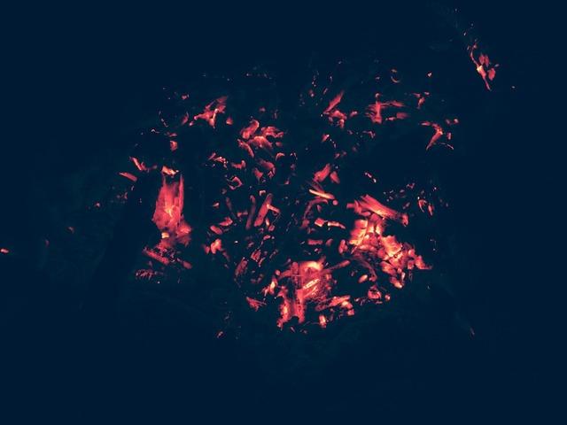 Coals bonfire fire.