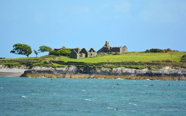 Coast booked ruin, nature landscapes.