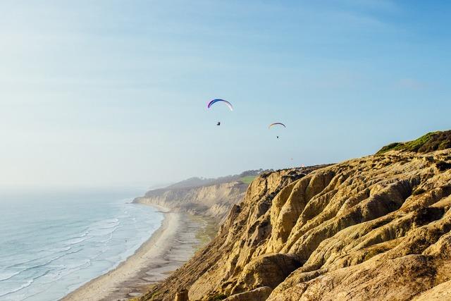 Coast parasail adventure, travel vacation.