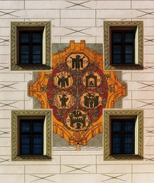 Coat of arms building munich, architecture buildings.