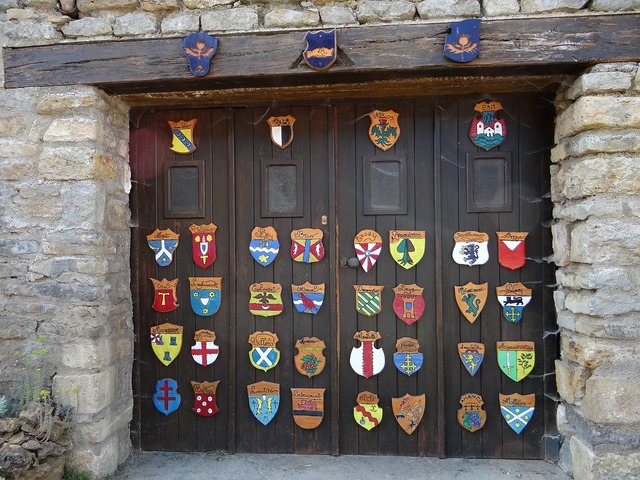 Coat of arms garage door, backgrounds textures.