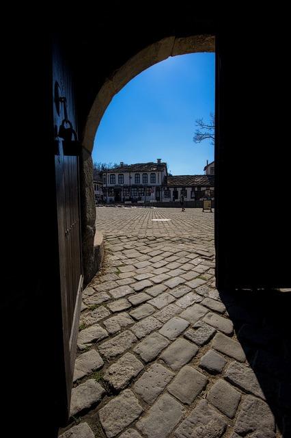 Cobblestone door opening, architecture buildings.