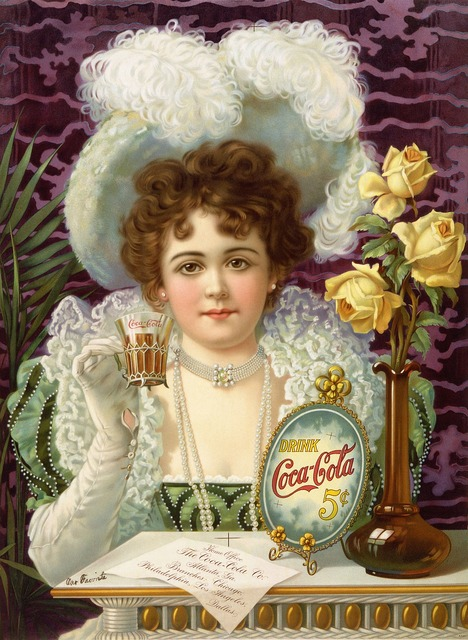 Coca cola advertising 1890, beauty fashion.