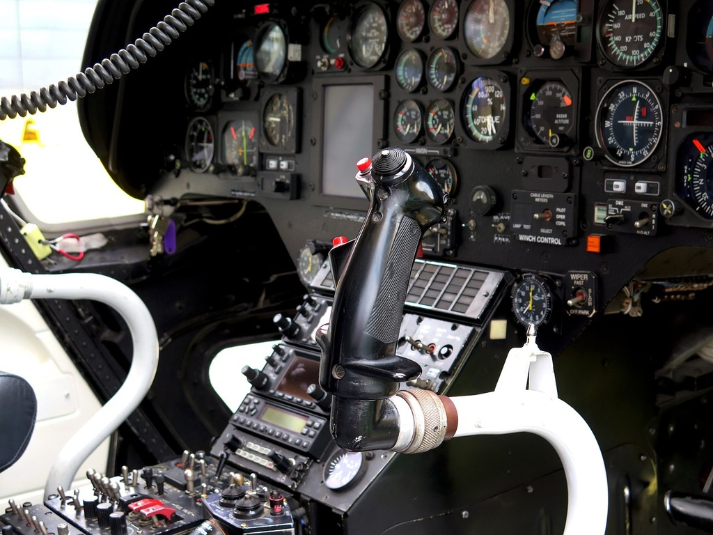Cockpit helicopter control.