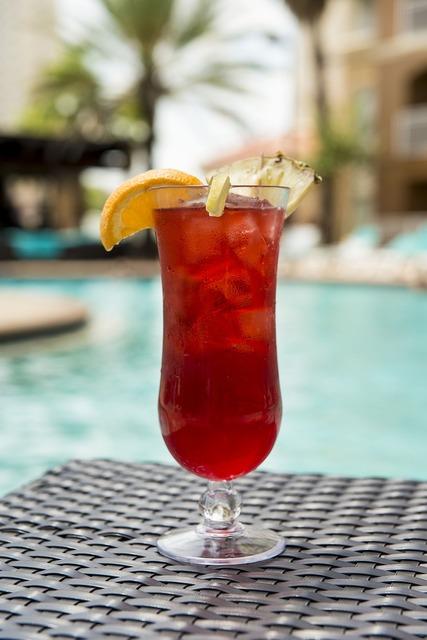 Cocktail drink poolside, food drink.