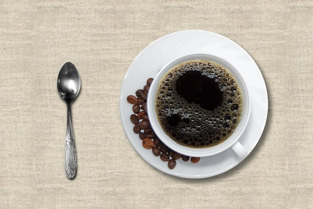 Coffee cup and saucer black coffee, food drink.