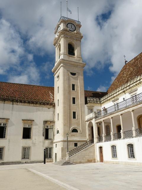 Coimbra portugal university, architecture buildings.