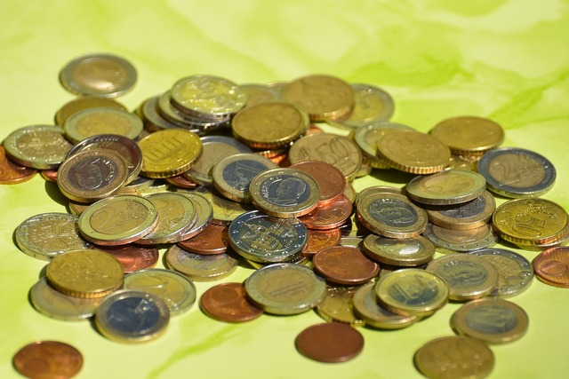 Coins currency euro, business finance.