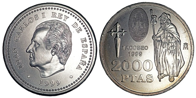 Coins currency pesetas, business finance.