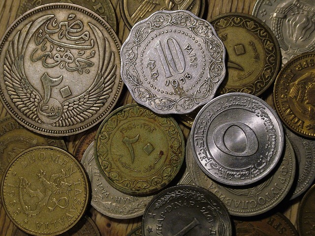 Coins old currency, business finance.