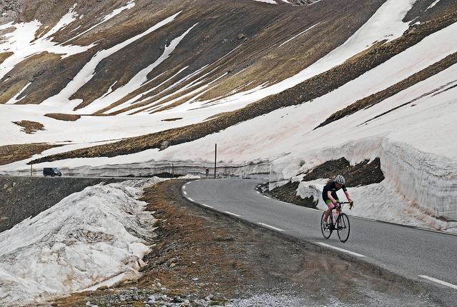 Col de la bonette june cyclists, sports.