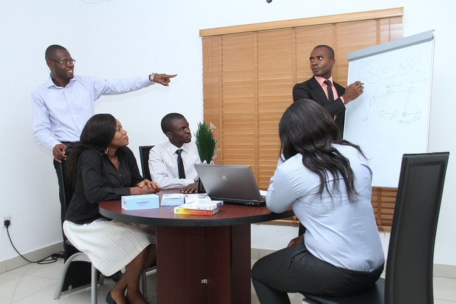 Colleagues seminar presentation, business finance.