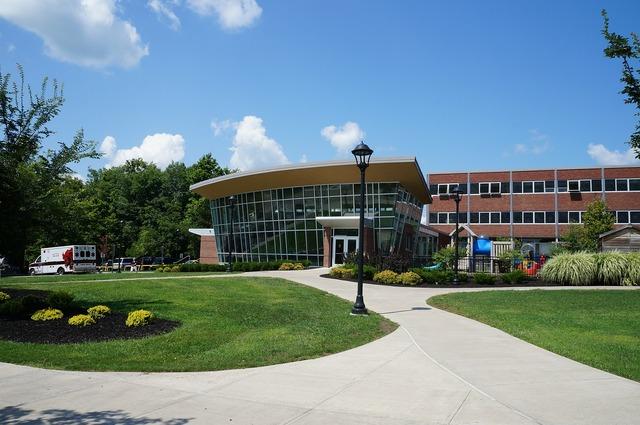 College campus building, architecture buildings.