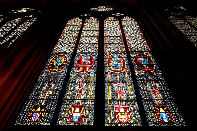 Cologne cathedral church window glass, religion.
