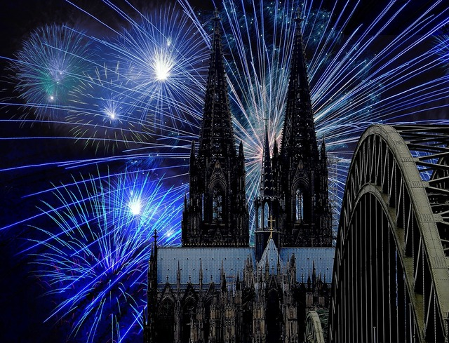 Cologne cathedral fireworks darkness, places monuments.