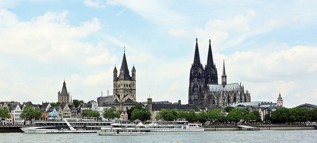 Cologne cathedral great st martin church old town, places monuments.