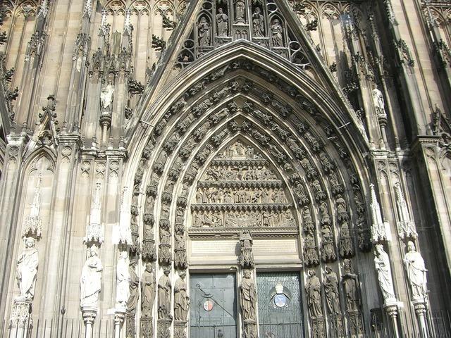 Cologne dom facade, places monuments.