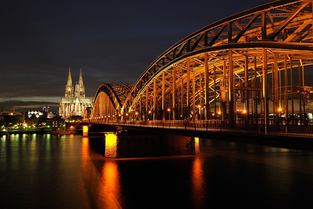 Cologne dom night, architecture buildings.