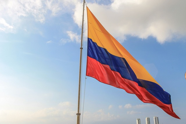 Colombian flag sky colombia, travel vacation.