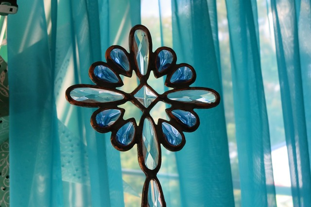 Colored glass star home decor, backgrounds textures.