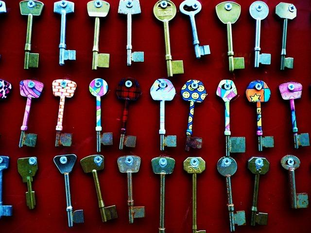 Colored metal keys.