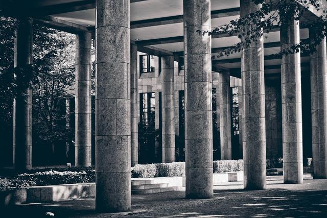 Columnar stone architecture, architecture buildings.